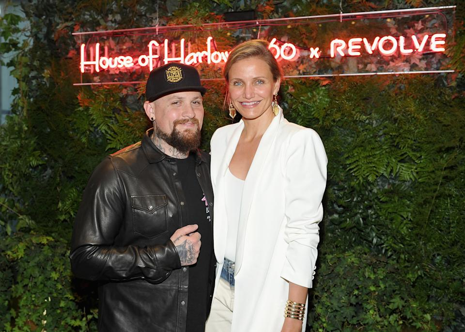 Cameron Diaz, pictured here with husband Benji Madden, opened up about her family life and decision to step away from Hollywood.