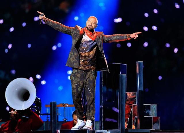 "<p>All eyes were on J.T. as he took the stage for the Pepsi Super Bowl LII Halftime Show on Sunday. Performing an energetic medley of his hits, like ""Cry Me a River,"" ""Mirrors,"" and ""Can't Stop the Feeling,"" Timberlake also lit up the stadium in purple and included a tribute to Minneapolis's own music icon, Prince. (Photo: Christopher Polk/Getty Images) </p>"