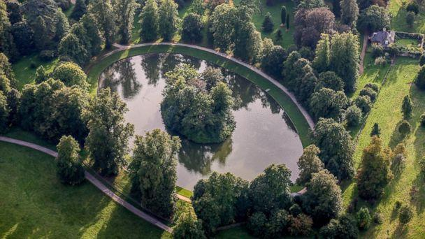 PHOTO: An aerial view of the burial site of Diana, Princess of Wales in this Sept. 9, 2006 file photo. The Round Oval lake is located in the Althorp Estate, home to Spencer family. (David Goddard/Getty Images)