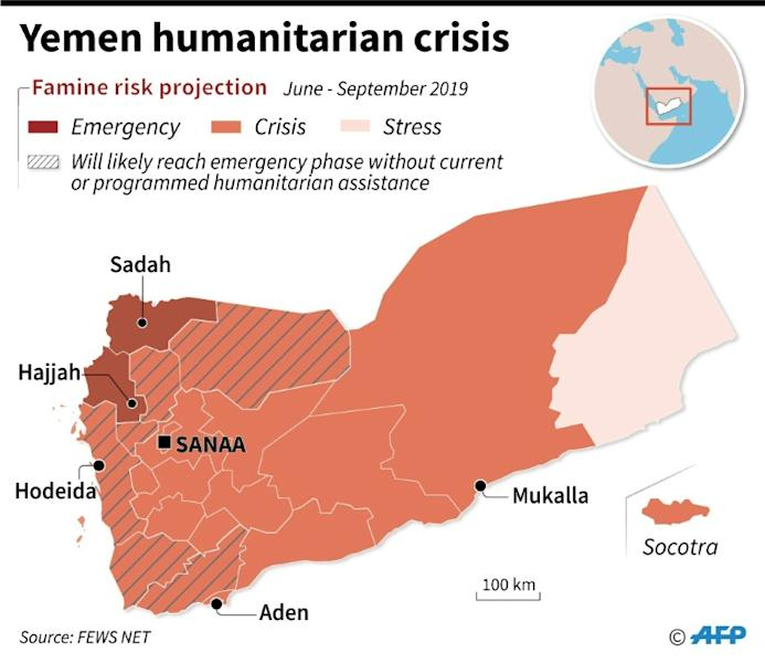 Map showing famine risk projection for Yemen (AFP Photo/Gal ROMA)