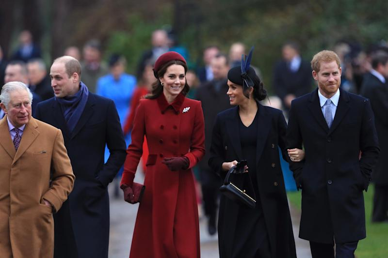 Kate and Meghan arrive at church on Christmas day (Stephen Pond / Stringer)