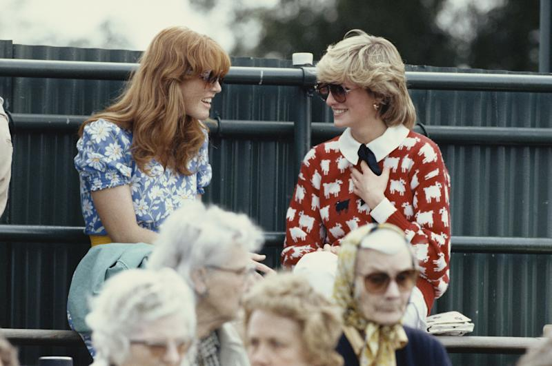 Diana, Princess of Wales with Sarah Ferguson at the Guard's Polo Club, Windsor, 1983. Photo by Georges De Keerle/Getty Images.