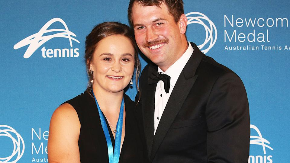 Ashleigh Barty and boyfriend Garry Kissick, pictured here at the 2017 Newcombe Medal.