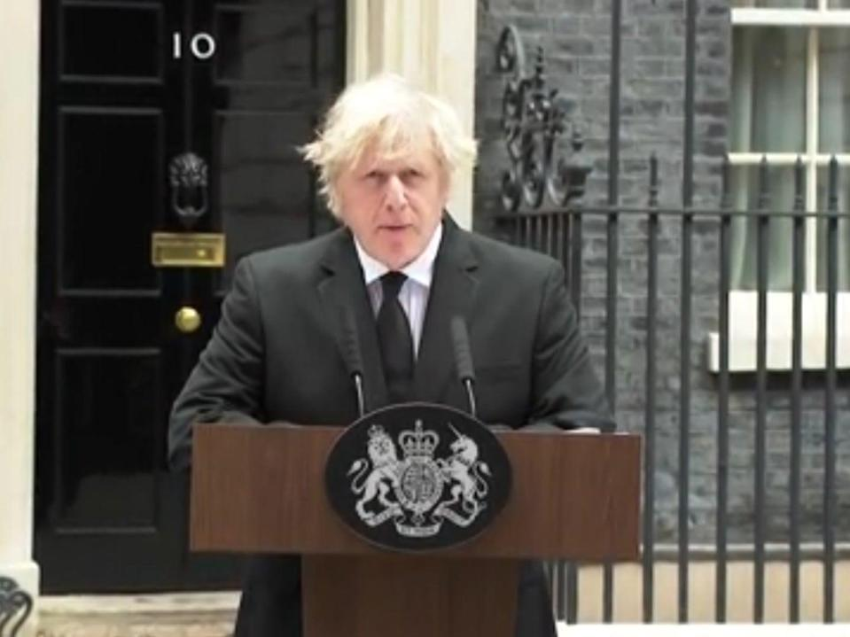<p>Prime minister Boris Johnson paying tribute to Prince Philip on Friday</p> (Downing Street/The Independent)