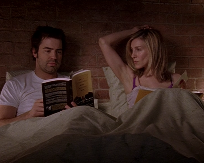 Ron Livingston as Jack Berger and Sarah Jessica Parker as Carrie Bradshaw in Sex and the City.