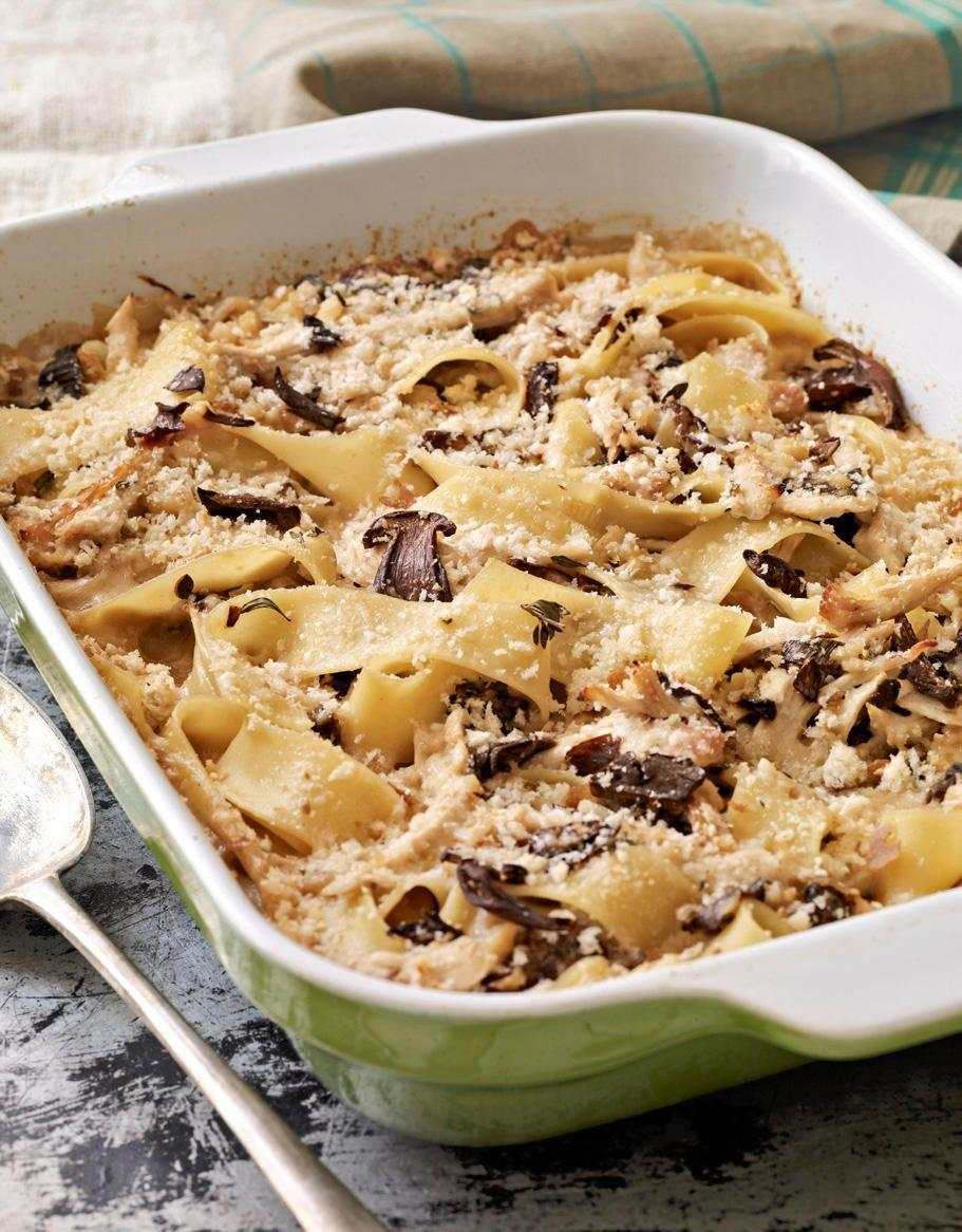 """<p>Make it easy: Use leftover turkey from a previous meal in this mushroom-and-pasta casserole.</p><p><strong><a href=""""https://www.countryliving.com/food-drinks/recipes/a3088/turkey-porcini-tetrazzini-recipe/"""" rel=""""nofollow noopener"""" target=""""_blank"""" data-ylk=""""slk:Get the recipe."""" class=""""link rapid-noclick-resp"""">Get the recipe.</a></strong></p>"""