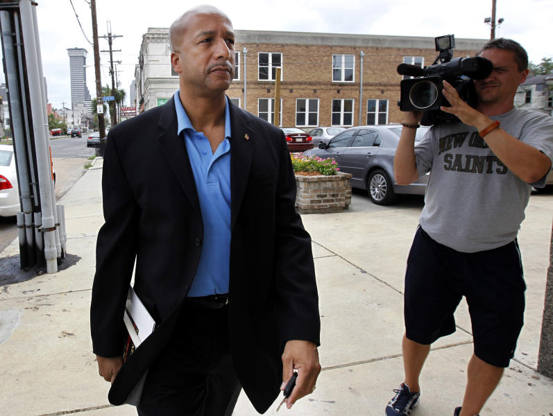 "FILE - In this Wednesday, June 22, 2011 file photo, former Mayor Ray Nagin arrives to talk about his new book, ""Katrina's Secrets,"" at a news conference in New Orleans. Nagin was indicted Friday, Jan. 18, 2013, on charges that he used his office for personal gain, accepting payoffs, free trips and gratuities from contractors while the city was struggling to recover from the devastation of Hurricane Katrina. (AP Photo/Gerald Herbert, File)"