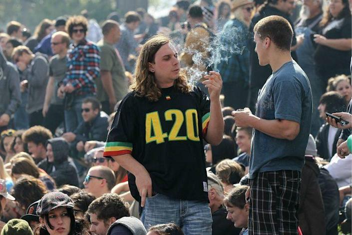 A man smokes marijuana during a 4/20 celebration in San Francisco's Golden Gate Park in 2010. (Photo: Justin Sullivan/Getty Images)