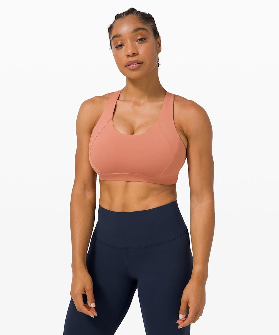 <p>The coral <span>Lululemon Free to Be Elevated Bra</span> ($52) is so pretty.</p>