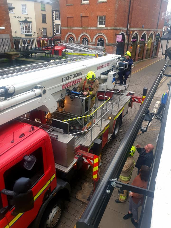 The fire service shortly after arriving in Market Borough