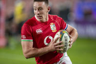 British and Irish Lions' Josh Adams in action, during a warm-up rugby match between South Africa Lions and British and Irish Lions at Ellis Park stadium in Johannesburg, South Africa, Saturday, July 3, 2021. (AP Photo/Themba Hadebe)