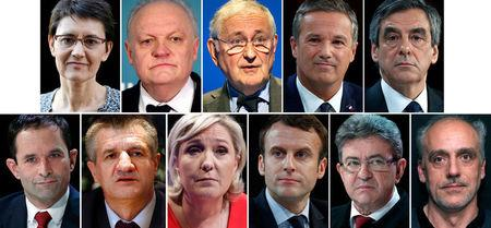 A combination picture shows candidates for the French 2017 presidential election