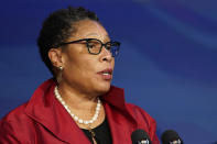 Rep. Marcia Fudge, D-Ohio, the Biden administration's choice to be the housing and urban development secretary, speaks during an event at The Queen theater in Wilmington, Del., Friday, Dec. 11, 2020. (AP Photo/Susan Walsh)