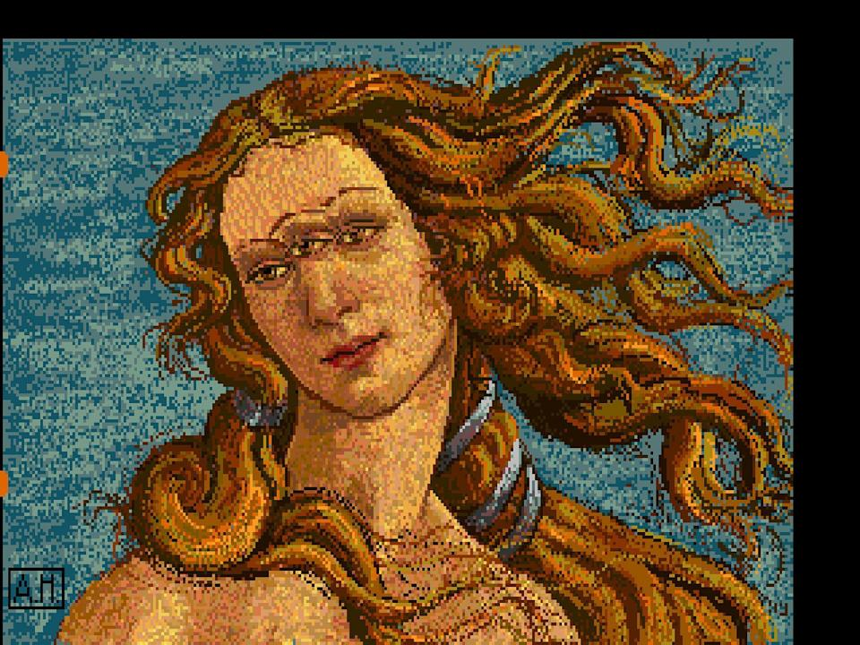 """This undated image provided by The Andy Warhol Museum in Pittsburgh, Pa., shows """"Venus"""", a piece that is thought to be made by the late pop artist, Andy Warhol, on a computer in 1985. The museum says that the artist had a contract with Commodore International to produce images on one of its Amiga home computers. The old images recently were extracted from disks by members of Pittsburgh's Carnegie Mellon University Computer Club in collaboration with museum staff. (AP Photo/Andy Warhol, 1985, ©The Andy Warhol Foundation for the Visuals Arts, Inc.)"""