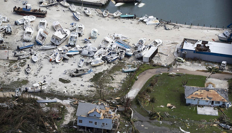 Destruction from Hurricane Dorian at Marsh Harbour in Great Abaco Island, Bahamas on Sept. 4, 2019. (Photo: Al Diaz/Miami Herald via AP)