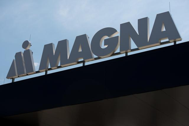 Magna Steyr company logo is pictured at paint shop plant in Hoce. (Photo by Milos Vujinovic/SOPA Images/LightRocket via Getty Images)