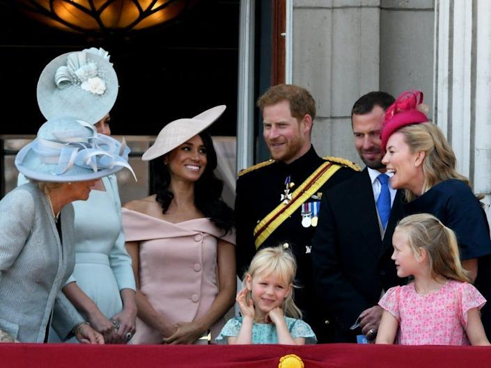 Meghan Markle, Prince Harry, Kate Middleton, and other royal family members at Trooping the Colour in June 2018.
