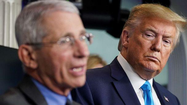 PHOTO: President Donald Trump listens as Dr. Anthony Fauci, director of the National Institute of Allergy and Infectious Diseases, addresses the daily coronavirus task force briefing at the White House in Washington, April 7, 2020. (Kevin Lamarque/Reuters)
