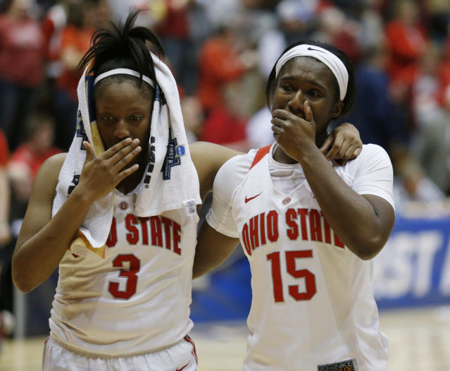 Ohio State guard Kelsey Mitchell, left, and guard Linnae Harper react to a second-round game loss to Central Michigan in the NCAA women's college basketball tournament in Columbus, Ohio, Monday, March 19, 2018. (AP Photo/Paul Vernon)