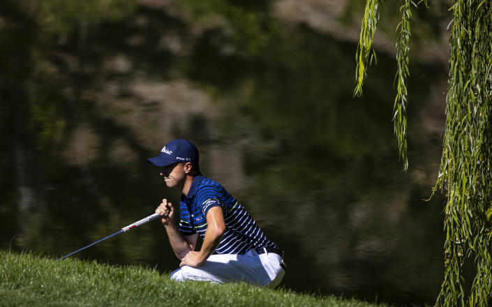 Jason Thomas lines up a putt on the fourth green during the third round of the CJ Cup golf tournament at Shadow Creek Golf Course, Saturday, Oct. 17, 2020, in North Las Vegas. (Chase Stevens/Las Vegas Review-Journal via AP)