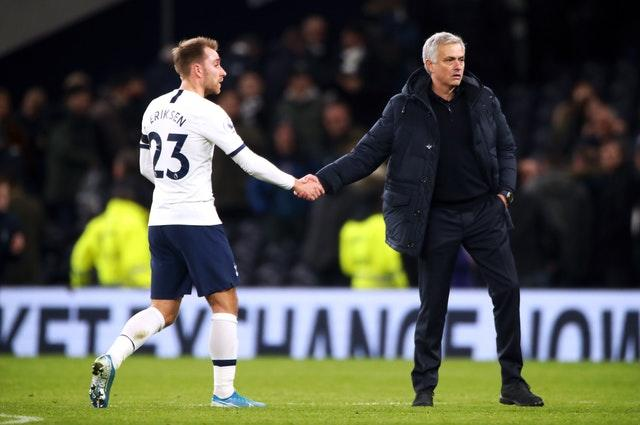 Jose Mourinho, right, may be seeing Christian Eriksen out of the exit door in January