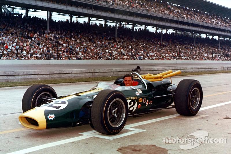 """Jimmy Clark and the Lotus 38-Ford – unforgettable and unbeatable combo in '65.<span class=""""copyright"""">Indianapolis Motor Speedway</span>"""