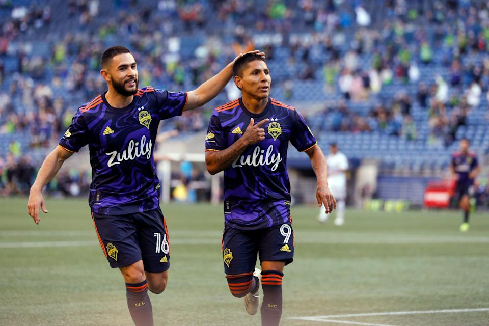 Raul Ruidiaz (right) scored two goals in last week's Seattle Sounders win over the LA Galaxy.
