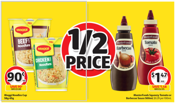 Maggi noodles and sauces advertised for half-price at Coles.
