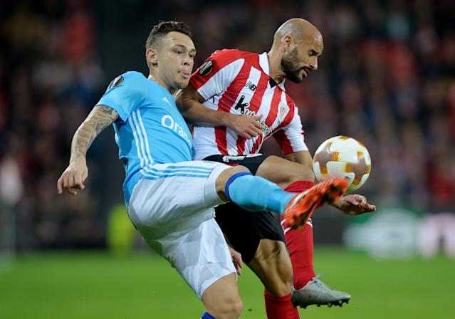 Soccer Football - Europa League Round of 16 Second Leg - Athletic Bilbao vs Olympique de Marseille - San Mames, Bilbao, Spain - March 15, 2018 Marseille's Lucas Ocampos in action with Athletic Bilbao's Mikel Rico REUTERS/Vincent West