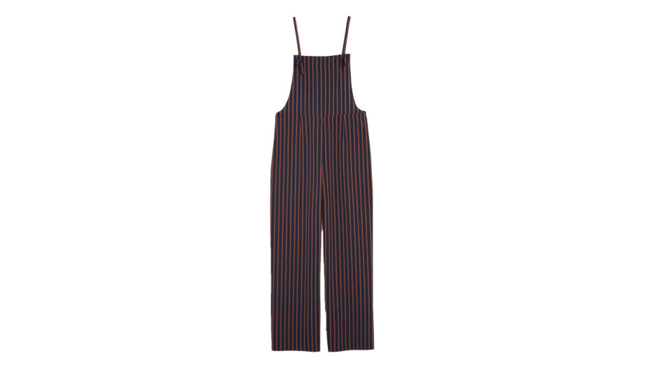 """<p>Pair this flowly jumpsuit with an oversized tee and you've got yourself one super comfy weekend ensemble. <a rel=""""nofollow noopener"""" href=""""https://www.monki.com/en_gbp/clothing/jumpsuits/product.flowy-dungarees-striped-to-perfection.0582092002.html"""" target=""""_blank"""" data-ylk=""""slk:Buy here."""" class=""""link rapid-noclick-resp""""><em>Buy here.</em></a> </p>"""