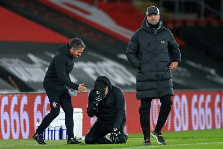 Southampton manager Ralph Hassenhuttl (centre)broke down in tears at full-time