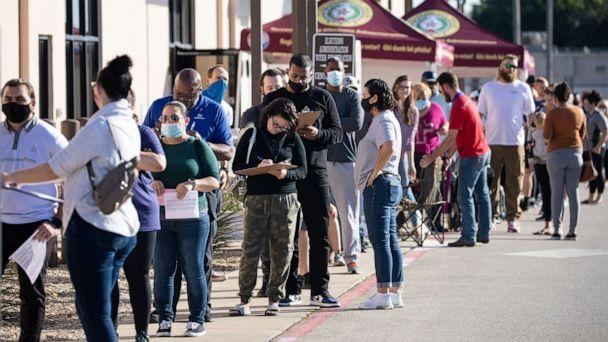 PHOTO: In this Oct. 29, 2020, file photo, people wait in line to vote at Tarrant County Elections Center on the last day of early voting in Fort Worth, Texas. (Montinique Monroe/Getty Images, FILE)