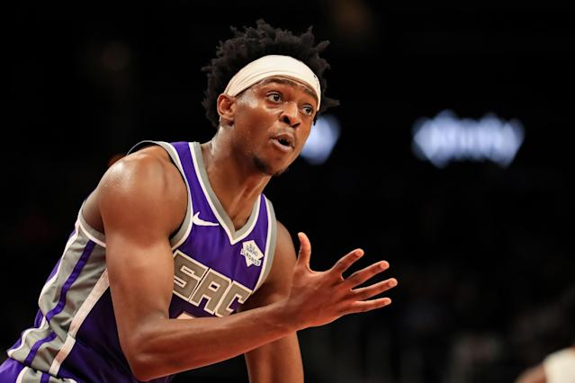 De'Aaron Fox could miss a quarter of the Kings' season after suffering a Grade 3 ankle sprain in practice. (Carmen Mandato/Getty Images)