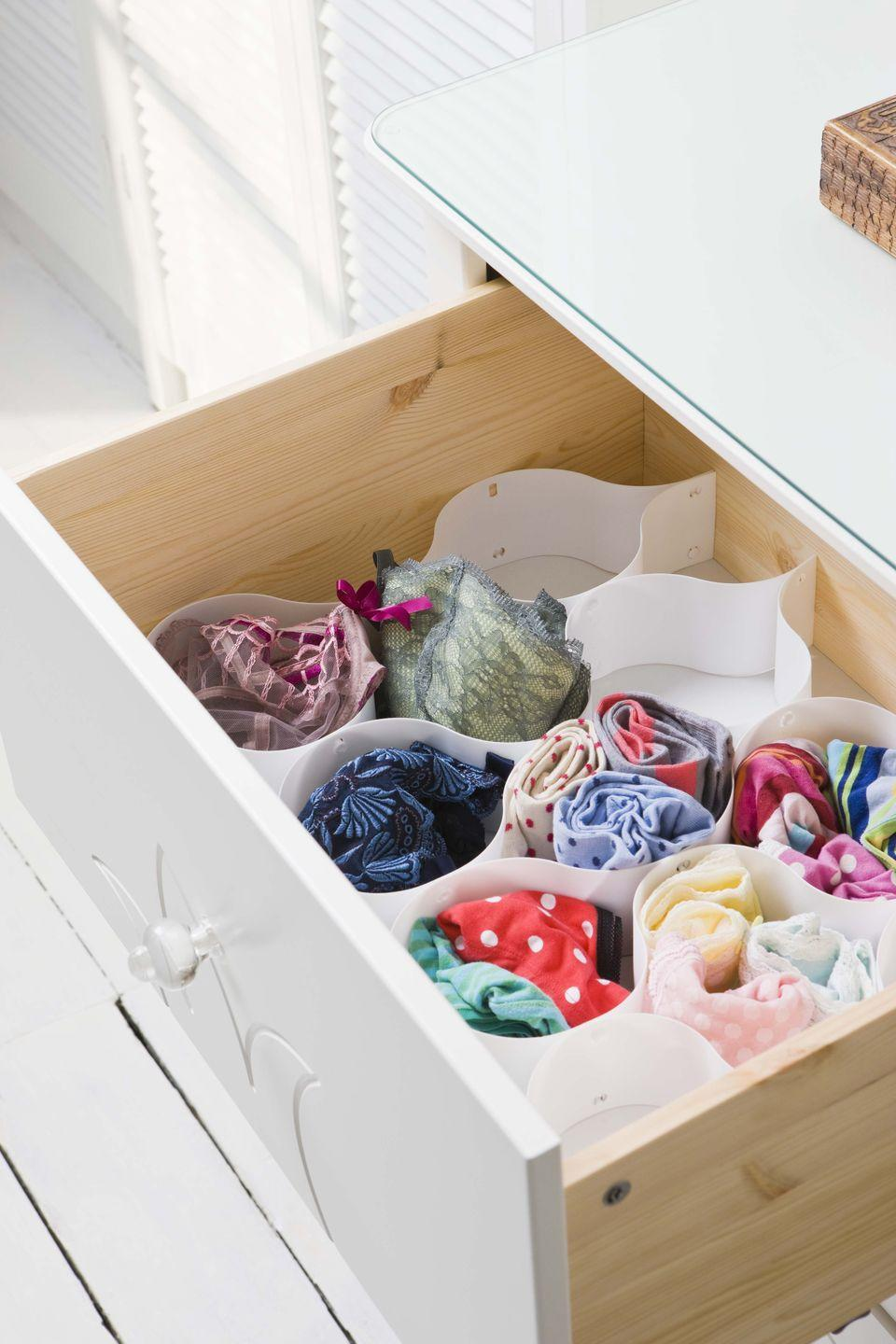 <p>Storing undies in cute compartments helps you instantly see every pair you own. </p>