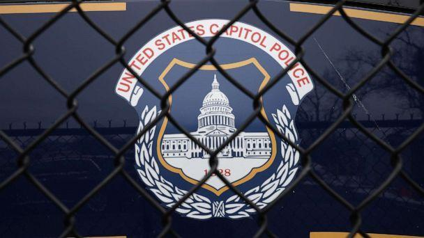 PHOTO: The United States Capitol Police seal appears on the side of a bus parked near the federal law enforcement agency's headquarters in Washington, D.C., on Feb. 19, 2021. (Chip Somodevilla/Getty Images)