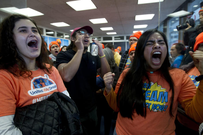 <p>Demonstrators protest at Sen. Dean Heller's, R-Nev., office in support of the Deferred Action for Childhood Arrivals (DACA), and Temporary Protected Status (TPS), programs on Capitol Hill Tuesday, Jan. 16, 2018, in Washington. (Photo: Jose Luis Magana/AP) </p>