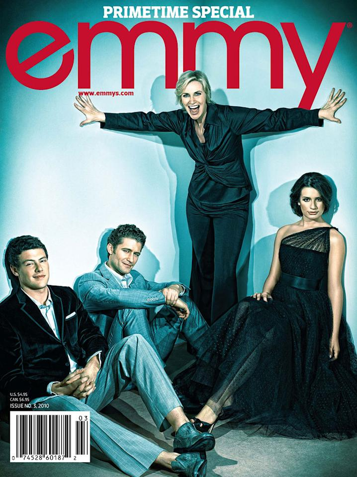 """The cast of """"<a href=""""/glee/show/44113"""">Glee</a>"""" appears on the cover of Emmy magazine's """"For Your Consideration"""" issue, on newsstands now. Click through this slideshow to see all the photos inside Emmy magazine and what the show's stars had to share."""
