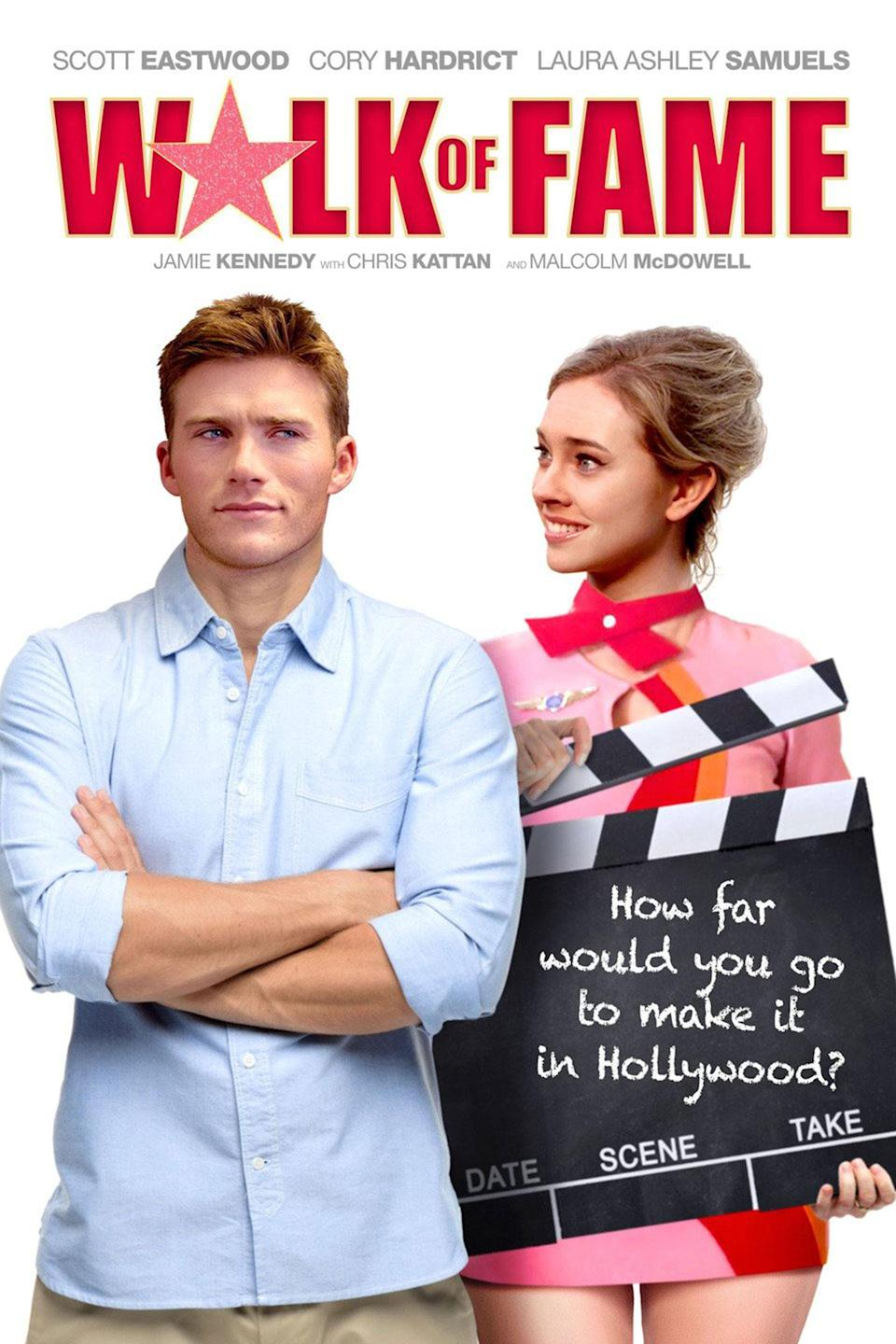 <p>Yeah, okay: Scott Eastwood was too busy to allow his whole body to be photographed for the poster. Sure. His co-star here is doing her best, looking lovingly at the back of his head, but it's not nearly as distracting as the wonky clapperboard with the perfectly straight writing on it. Also real clapperboards are not generally the size of your entire torso. </p>