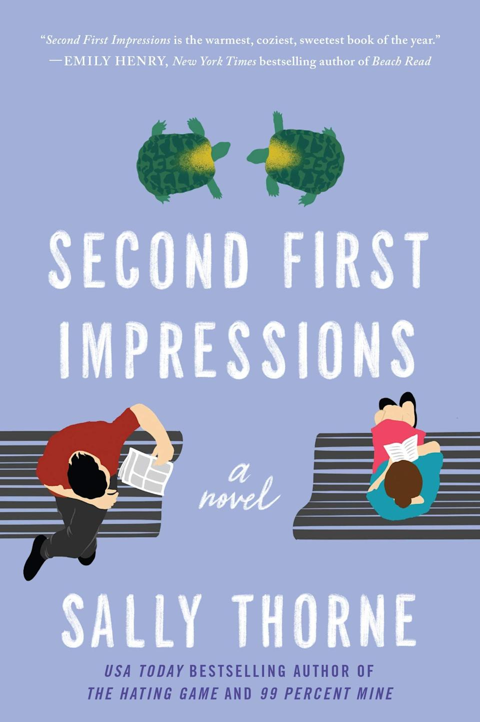 <p>Set against the backdrop of a retirement home, <span><strong>Second First Impressions</strong></span> by Sally Thorne is one of those books that will genuinely make you laugh out loud. Teddy Prescott is a restless guy with zero interest in settling down - but he does need a place to crash, which is how he ends up as the caretaker for the vivacious Parloni Sisters. What he doesn't bargain for is just how hard he'll fall for the no-nonsense Ruthie Midona, who is angling for a management position at the home. </p> <p><em>Out April 13</em></p>