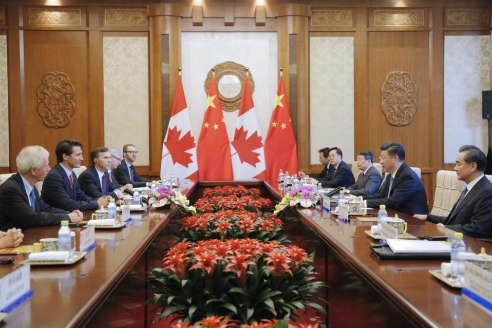 China's President Xi Jinping, second right, and Prime Minister Justin Trudeau, second left, hold their meeting at the Diaoyutai State Guesthouse in Beijing, China, on Aug. 31, 2016. (Wu Hong/Pool Photo via AP)