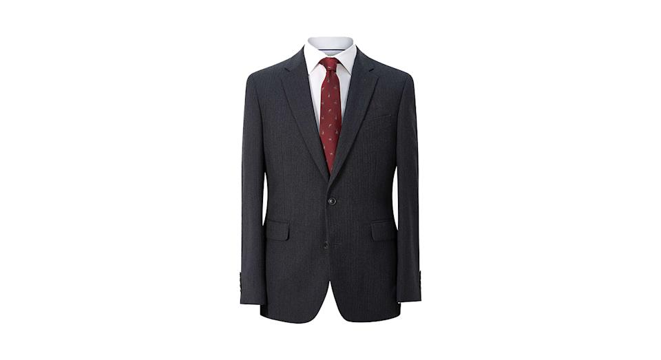 Chester by Chester Barrie Herringbone Wool Cashmere Tailored Suit Jacket