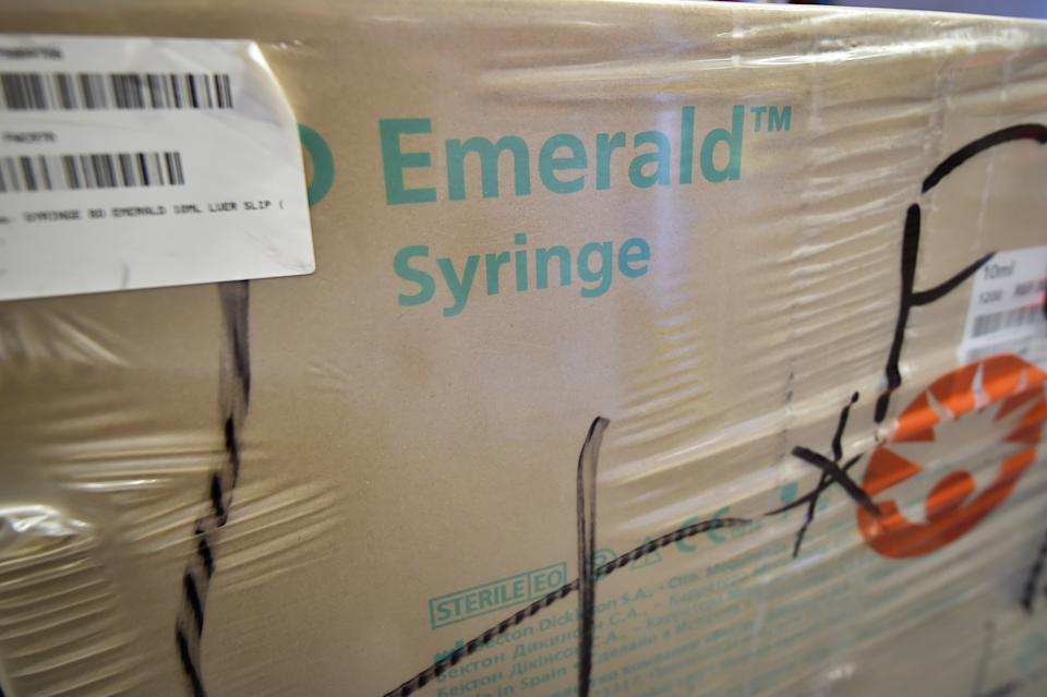 A box of syringes, which are being stockpiled as part of Brexit preparations at a NHS Wales warehouse in South Wales. The warehouse is storing extra medical devices and consumables to ensure health and social services continue to run smoothly in the event of a no-deal Brexit.