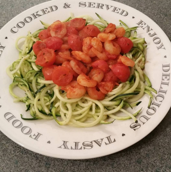 <p>Courgetti's so popular you can buy it pre-made these days. So how about whipping up a healthy treat of tiger prawns and tomatoes with garlic and chilli on a bed of the quicker-cooking spaghetti alternative. <i>[Picture: Instagram/charlottesfitnessdiaryx]</i></p>