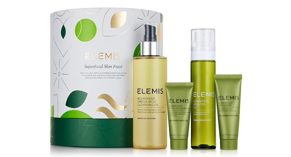 """Elemis is a favourite with many mums: its products really deliver results and leaves skin feeling cared for and glowing. This set, which includes a cleansing oil, mist, mask and day cream, comes equipped with everything your mum needs for her daily skincare regime. A real treat for her to enjoy once the madness of the Christmas season has died down. <a href=""""https://fave.co/31m3Rfh"""" rel=""""nofollow noopener"""" target=""""_blank"""" data-ylk=""""slk:Shop now."""" class=""""link rapid-noclick-resp""""><strong>Shop now.</strong></a>"""
