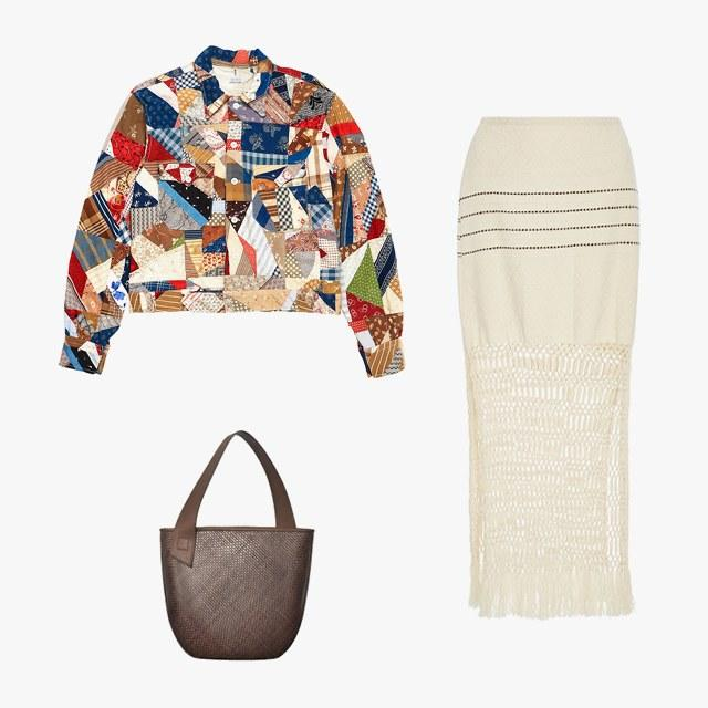 Bode jacket, $1,135, for information: bodenewyork.com; Jaline Jane handwoven and macramé skirt, $375, modaoperandi.com; TL-180 Grand Panier Saigon bag, $827, tl-180.com
