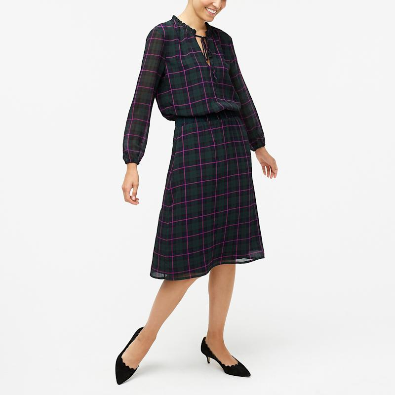 Long-sleeve Printed Tie-neck Dress in Black Witch Plaid. (Photo: J. Crew)