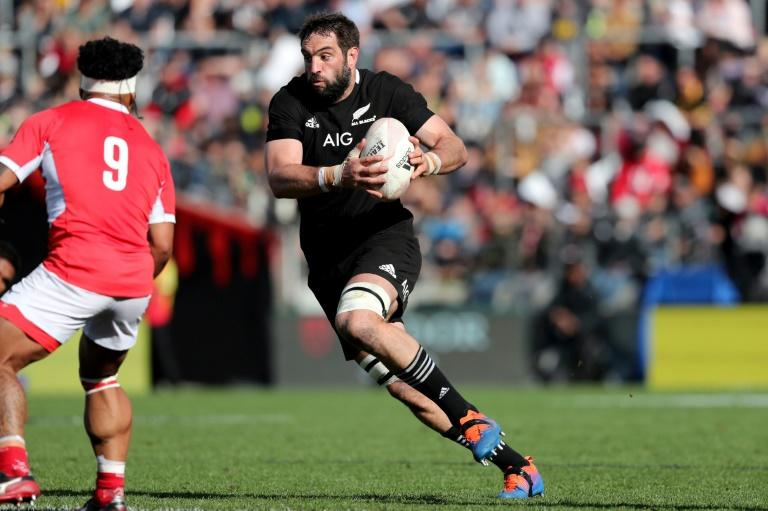 New Zealand's Sam Whitelock runs with the ball during a match against Tonga ahead of the Rugby World Cup