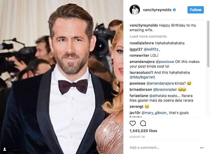 It's not the first time Ryan has posted something funny about his wife, he recently wished her a happy birthday alongside a photo of himself. Source: Instagram