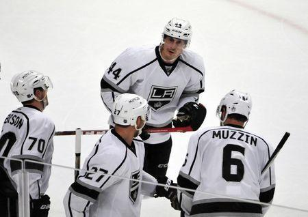 FILE PHOTO: Mar 14, 2016; Chicago, IL, USA; Los Angeles Kings center Vincent Lecavalier (44) celebrates with teammates after scoring a goal against the Chicago Blackhawks during the second period at the United Center. David Banks-USA TODAY Sports