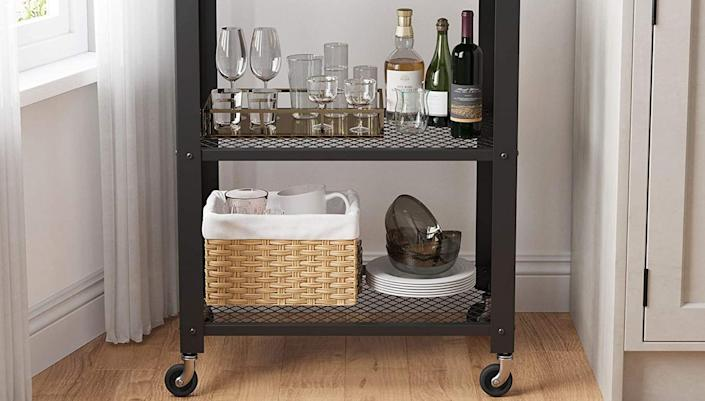 This sleek bar cart will look great no matter where you place it.